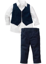 Camicia + gilet + pantalone (set 3 pezzi), bpc bonprix collection, Bianco / blu scuro