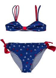 Bikini double face per bambina, bpc bonprix collection, Blu / bianco