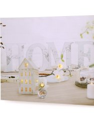 "Quadro su tela con luci LED ""Home"", bpc living, Crema / bianco"