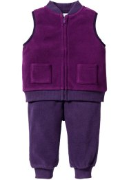 Gilet + pantalone in pile (set 2 pezzi), bpc bonprix collection, Violetto / prugna