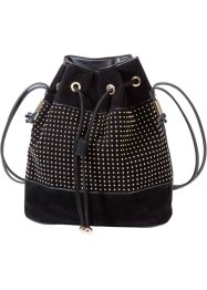 Borsa a sacchetto con borchiette, bpc bonprix collection, Nero / oro