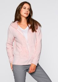 Giacca in pile con cappuccio, bpc bonprix collection, Rosa perlato