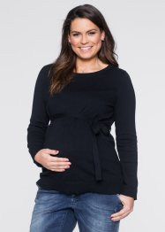 Pullover prémaman in 100% cotone con cintura, bpc bonprix collection, Nero