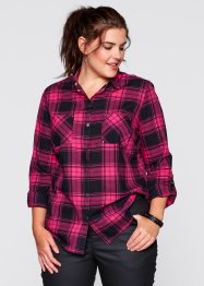 Camicia, bpc bonprix collection, Fucsia scuro / nero a quadri