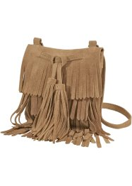 Borsa in pelle con frange, bpc bonprix collection, Cognac