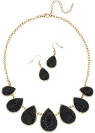 Parure collana + orecchini, bpc bonprix collection, Color oro / nero