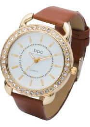 Orologio con cinturino in simil coccodrillo, bpc bonprix collection, Color oro / marrone