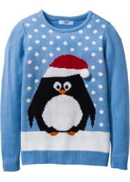 Pullover con pinguino, bpc bonprix collection, Celeste