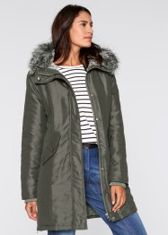 Parka ecopelliccia, bpc bonprix collection, Verde oliva scuro
