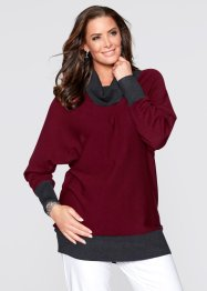Pullover, bpc selection, Rosso acero / antracite melange