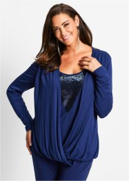 Blusa in maglina con paillettes, bpc selection, Blu notte