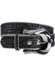 Cintura pitonata con glitter, bpc bonprix collection, Nero