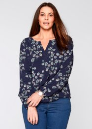 Blusa ampia a manica lunga, bpc bonprix collection, Blu scuro fantasia
