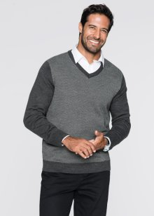 Pullover con scollo a V regular fit, bpc selection, Antracite melange