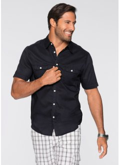 Camicia a manica corta regular fit, bpc bonprix collection, Nero