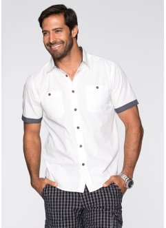 Camicia a manica corta regular fit, bpc bonprix collection, Bianco