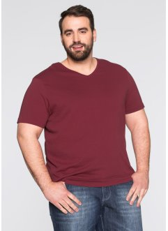 T-shirt con scollo a V (pacco da 3) regular fit, bpc bonprix collection, Bordeaux + verde scuro + bianco