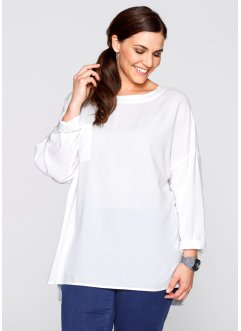 Blusa con cerniera, bpc bonprix collection, Bianco panna