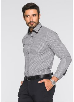 Camicia business regular fit, bpc selection, Nero / bianco a quadri