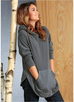 Pullover- poncho in pile, bpc bonprix collection, Grigio fumé