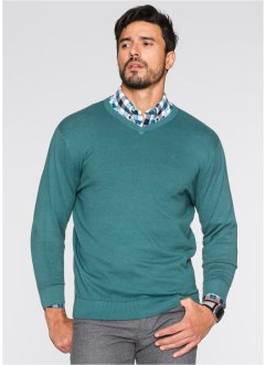 Pullover con scollo a V regular fit, bpc selection, Petrolio
