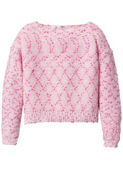 Pullover fantasia corto, bpc bonprix collection, Rosa / fucsia