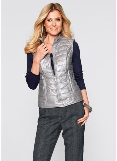 Gilet in similpelle lucida, bpc selection, Argento