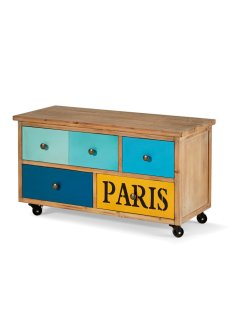 "Panca ""Paris"", bpc living, Colore naturale / blu / giallo"