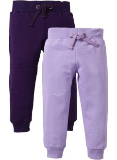 Pantalone in felpa (pacco da 2), bpc bonprix collection, Lilla + prugna