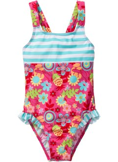 Costume intero per bambina, bpc bonprix collection, Fucsia / turchese