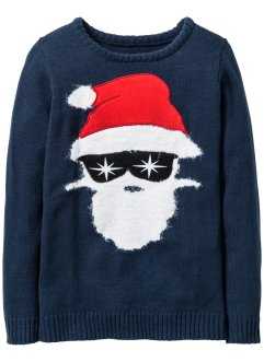 Pullover con Babbo Natale, bpc bonprix collection, Blu scuro