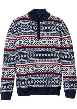 Pullover con cerniera in stile norvegese regular fit