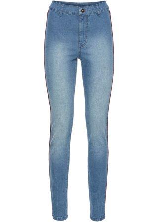 Pantalone skinny a vita alta con profili a contrasto
