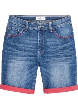 Bermuda di jeans elasticizzato con risvolto a contrasto slim fit