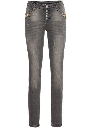 Confortevole Jeans elasticizzato con perle