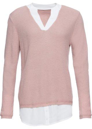 Costoso e fine Pullover con inserti di camicia