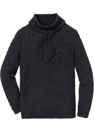 Pullover a collo alto con trecce regular fit