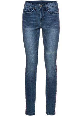 Jeans skinny con bande laterali in stile etnico