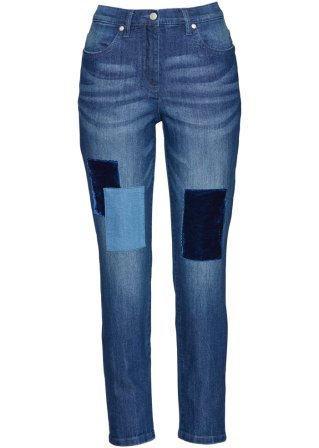 Jeans 7/8 con toppe in velluto
