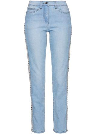 Jeans con bande laterali e borchiette