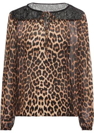 Affidabile Blusa leopardata con pizzo
