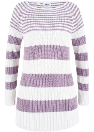 Pullover a righe in maglia a coste con scollo a barca