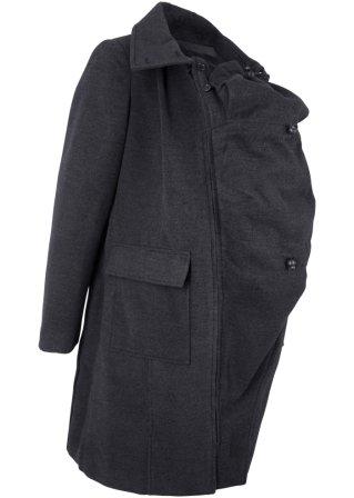 Cappotto prémaman in simil lana con porta-bimbo (davanti e dietro)