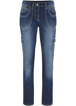Jeans cargo con ricami