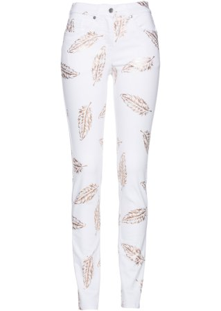 poco costosa al minuto Jeans con piume stampate