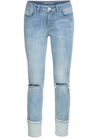 Jeans skinny cropped con inserto