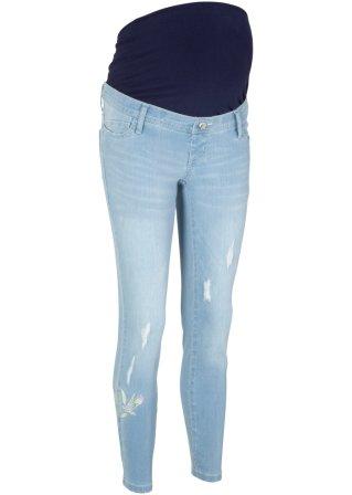 Jeans prèmaman alla caviglia con ricami