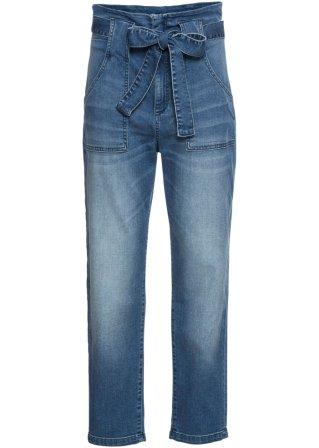 Jeans a vita alta con cintura da annodare