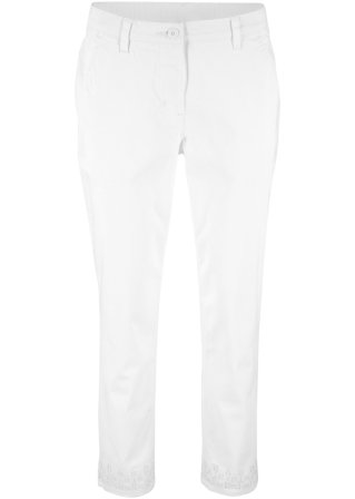 Pantalone 7/8 con ricamo traforato