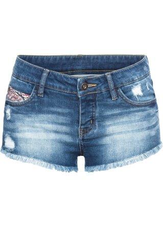 Hot pants di jeans con applicazione